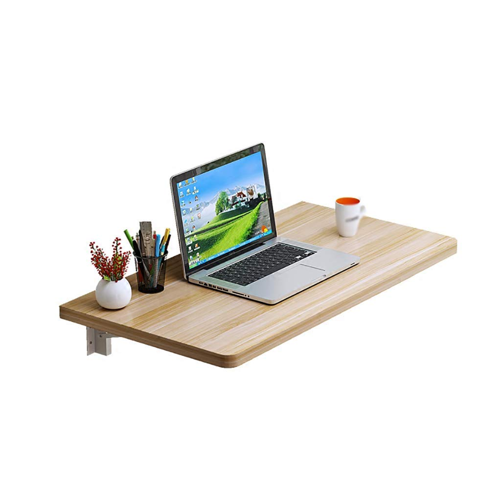 Lina Folding Table Wall-Mounted Table Environmentally Friendly Material Desk for Computer Desk Dining Table Balcony Shelf, Light Walnut (Size : 120x40cm)