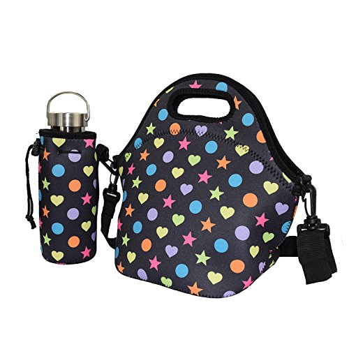 CASETIME Portable Quality Neoprene Lunch Tote Bag Organizer & Water Bottle Bag Tote Sleeve Holder Carrier Carrying Bag for Travel Outdoor Sports Office (Lunch Bag 2+Bottle Bag 2) (22 Oz Beer Bottle Carrier compare prices)