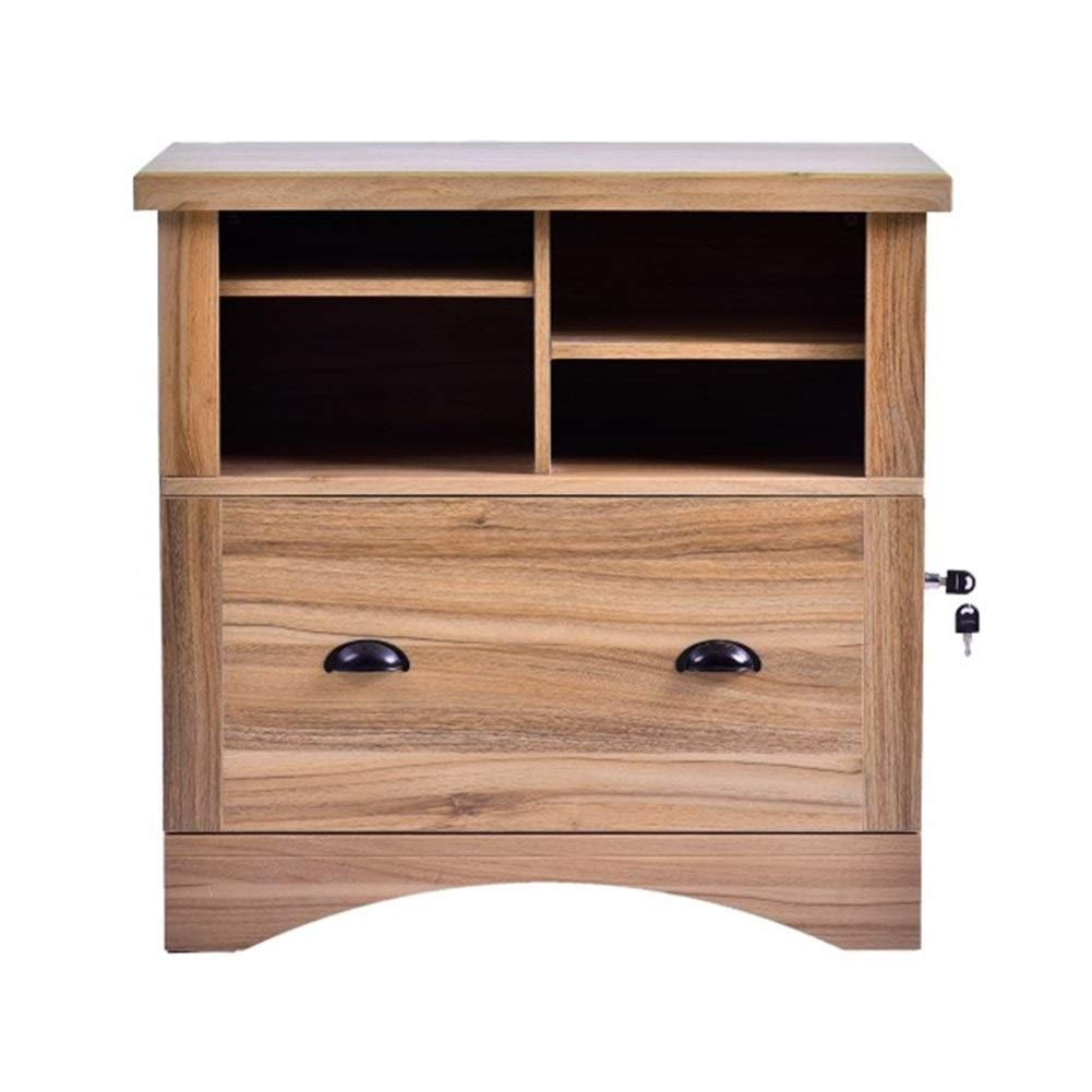 YXHUI Side File Cabinet with 3 Drawers and Open Storage Shelf (Black + White, 39.4'' L X 15.7'' Wide X 26.1'' High) Good Mood, Good Life (Color : Brown)