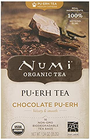 Numi Organic Tea Chocolate Puerh, Full Leaf Black Tea, 16-Count Tea Bags (Pack of 2) - Numi Black Organic Tea
