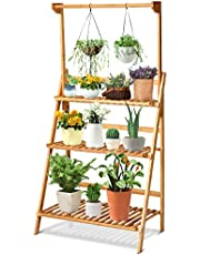 Giantex 3-Tier Hanging Plant Stand Storage Shelf, Folding Flower Pot Organizer Display Storage Rack, Adjustable Hanger Rod, Bamboo Planters Shelves Potted Holder for Patio Garden Balcony Bathroom