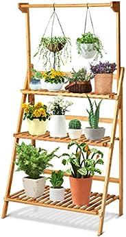 Giantex 3-Tier Hanging Plant Stand Storage Shelf, Folding Flower Pot Organizer Display Storage Rack, Adjustabl