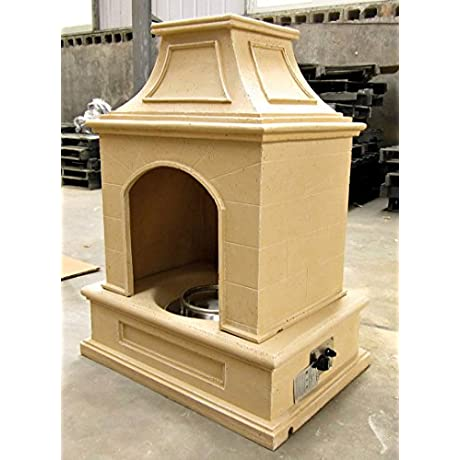 Gas Fireplace Fire Pit Outdoor Tuscan Style Stone With Fire Logs 44 H X 34 W Patio Deck Propane Line Or Tank 50 000 BTU Model SD6216A Sds