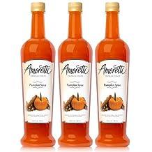 Amoretti Premium Pumpkin Spice Syrup, 25.4 Fluid Ounce, 3 Count