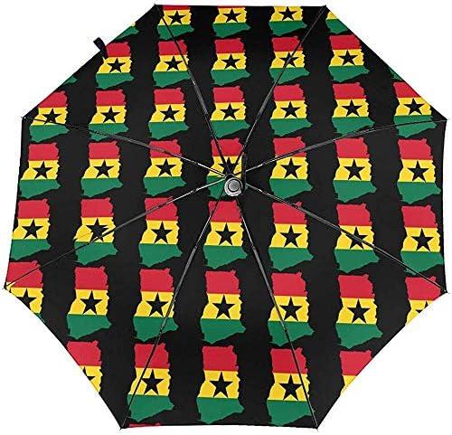 Flaggenkarte von Ghana Automatischer dreifach gefalteter Regenschirm Sonnenschirm Sonnenschirm Sonnenschirm