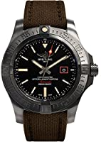 Breitling Avenger Blackbird 44 Black Titanium Case with Brown Canvas Strap Men's Watch