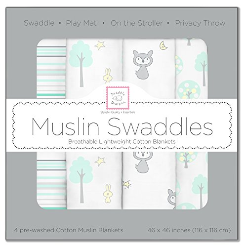 SwaddleDesigns Cotton Swaddle Blankets Woodland
