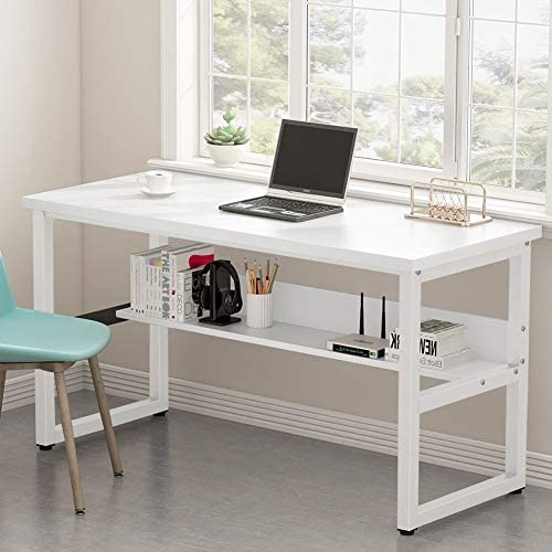 Tribesigns Computer Desk with Bookshelf Works, 55 Inches Office Writing Desk Study Table Workstation for Home Office