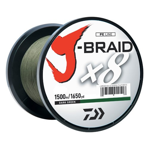 150 Spool Green Yard Braid - Daiwa JB8U20-1500DG J-Braid Braided Line, 20 Lbs Tested, 1650 yd/1500M Filler Spool, Dark Green