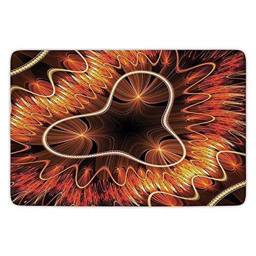 K0k2t0 Bathroom Bath Rug Kitchen Floor Mat Carpet,Fractal,Abstract Electromagnetic Waves Textured Dynamic Effects Artful Graphic Image,Vermilion Copper,Flannel Microfiber Non-Slip Soft Absorbent