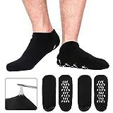 Codream Large Men's Moisturizing Gel Socks Men's Feet Care Ultimate Treatment for Dry Cracked Rough Skin on Feet Pack of 2 Pairs Black US Men 10-15