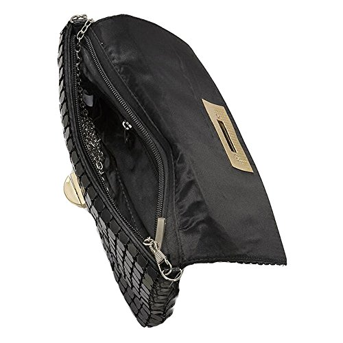 Metal Party Handbag Mesh Purses Aluminum Clutch Girls Cross Women Black Evening Shoulder Bag Bling XwqtZYP