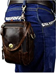 Leaokuu Mens Genuine Leather Vintage Messenger Shoulder Fanny Waist Pack Satchel Bag