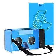 [Newest updated version] qpau Google carton V2.0Lunettes 3d Virtual Reality Kit de bricolage–Plus confortable et plus chiara-blue