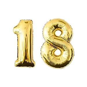 NUOLUX Foil Balloons Número de Oro 18th Balloon Party Festival Decoraciones Aniversario Aniversario Jumbo Photo Props 52.49 Inch