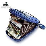 RFID Genuine Leather Wallet Secure Credit Card Holder (Blue)