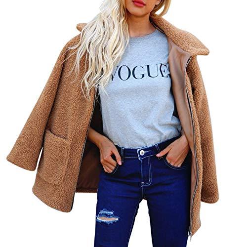 Overcoat for Women, Misaky Autumn Winter Warm Artificial Wool Coat Zipper Jacket Outerwear(Brown, Small)