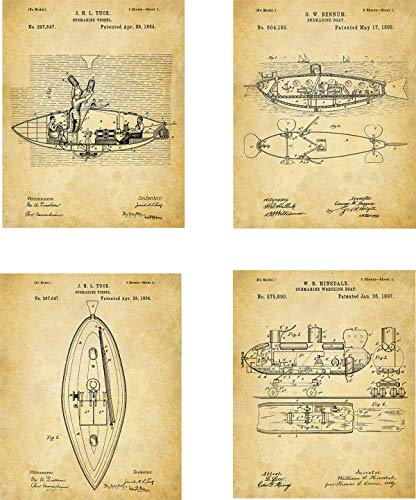 Submarine Patent Wall Art Prints - set of Four (8x10) Unframed - wall art decor for underwater enthusiasts