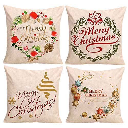 Merry Christmas Berry Wreath Cotton Linen Decorative Throw Pillow Cover Cushion Case for Sofa Couch 18x18 inches Pack of 4