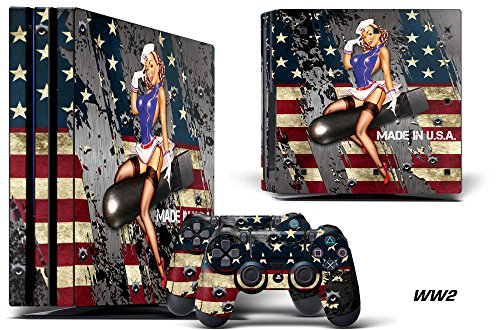 247Skins Designer Decal for PlayStation 4 PRO System plus Two (2) Decals for PS4 Dualshock Controller - WW2