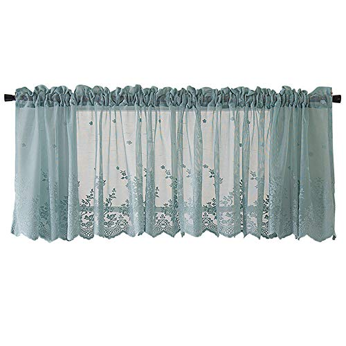 GXOK Lace Curtains, Woven Textured Valance for Bathroom Water Repellent Window Covering (Blue)