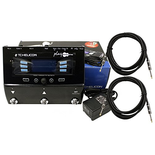 TC Helicon Play Acoustic Guitar FX Vocal Effects Pedal w/ Power Supply and 2 Cables Bundle