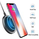 qi note edge - Wireless Charger - 10W Wireless Charging Pad Standard Charging for iPhone X/ 8/8 Plus, Fast Charging for Samsung Note 5/7/ 8/ S6 Edge Plus/ S7/ S7 Edge/ S8/ S8 Plus, Supports All Qi-Enabled Devices
