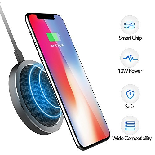 Wireless Charger - 10W Wireless Charging Pad Standard Charging for iPhone X/ 8/ 8 Plus, Fast Charging for Samsung Note 5/ 7/ 8/ S6 Edge Plus/ S7/ S7 Edge/ S8/ S8 Plus, Supports All Qi-enabled Devices