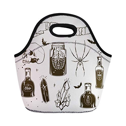 Tinmun Lunch Tote Bag Poison of Halloween and Animals Holiday Symbols Retro Label Reusable Neoprene Bags Insulated Thermal Picnic Handbag for Women -