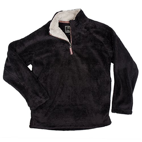 True Grit Men's Double Plush 1/4 Zip Pullover, Black, Large by True Grit
