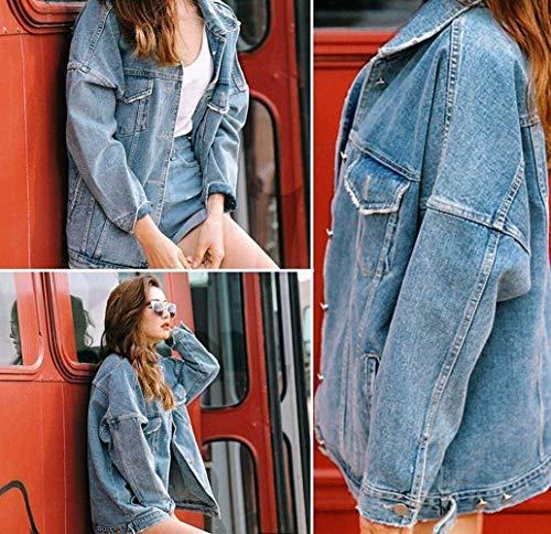 Autunno Stlie Jeans Sciolto Size Outwear Confortevole Lunga Giaccone Primaverile Jacket Blau Outerwear Moda Plus Cappotto Giacche Donna Grazioso Manica Fidanzato Di wBtHxqCn4