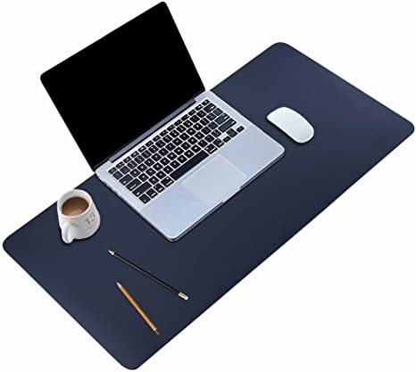 White Laptop Desk Mouse Mat Leather Desk Pad Protector Waterproof Desk Writing Pad Cover for Office and Home Office Desk Mat 31.5 x 15.7 Non-Slip PU Leather Desk Blotter