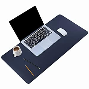 "BUBM Desk Pad Office Desktop Protector 31.5"" x 15.7"", PU Leather Desk Mat Blotters Organizer with Comfortable Writing Surface(Dark Blue)"