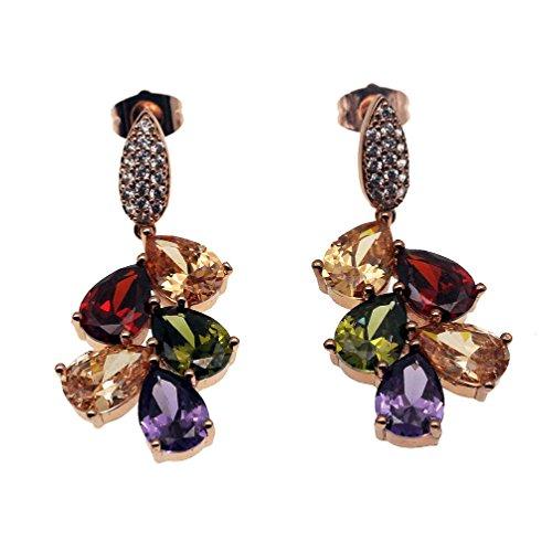 (Vanessa Rose Gold Multi Gemstone Jewelry Sets for Women,Sparkling Garnet Amethyst Morganite Peridot Topaz (Drop Earrings))