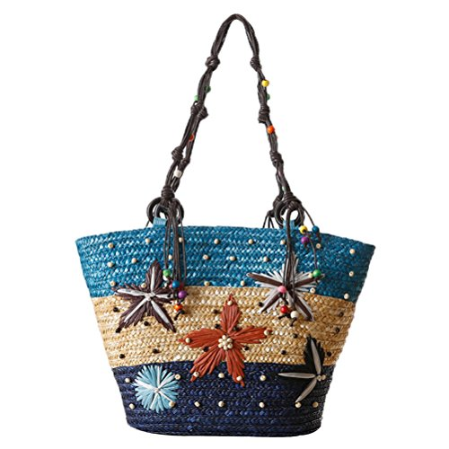 Donalworld Women Starfish Pattern Woven Handmade Summer Beaded Straw Tote Shoulder Handbag Blue -