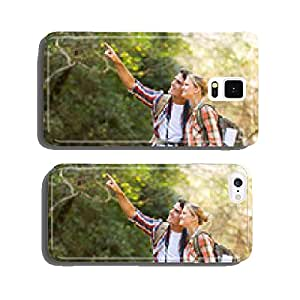 young couple hikers in mountain cell phone cover case iPhone5