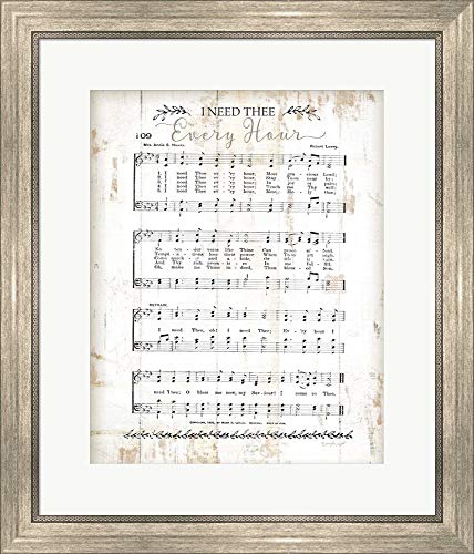 - I Need Thee Every Hour by Jennifer Pugh Framed Art Print Wall Picture, Silver Scoop Frame, 22 x 25 inches