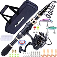 PLUSINNO Fishing Rod and Reel Combos Carbon Fiber Telescopic Fishing Rod with Reel Combo Sea Saltwater Freshwa