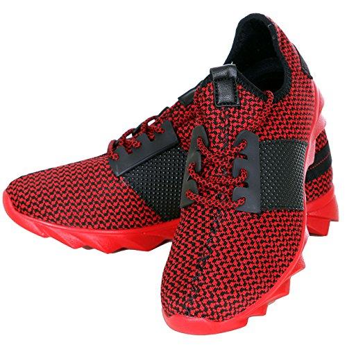 Sneaker Sport Herren-schuhe Schnürer T-1035 Profilsohle Rot Lauf-schuhe Design