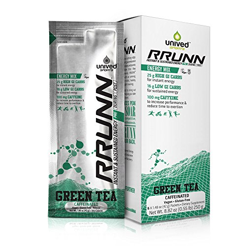 Unived RRUNN Pre Energy Sports Drink Mix, Instant & Sustained Energy, Green Tea Flavor, Caffeinated, Box of 6 Packets (0.55lbs, 252g)
