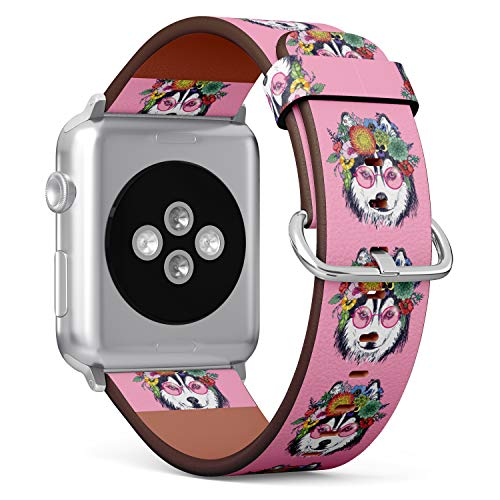 ((Funny Husky Wearing Sunglasses and Floral Wreath) Patterned Leather Wristband Strap for Apple Watch Series 4/3/2/1 gen,Replacement for iWatch 42mm / 44mm)