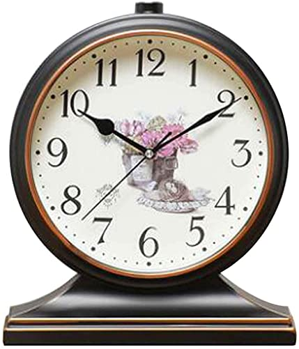 Black Temptation Pastorale Mute Craft European Style Table Clock Home Decor A