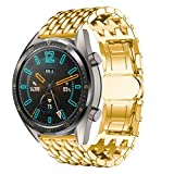 Corrosion-Resisting Replacement Premium Stainless Steel Wristband Straps Brand for Huawei Watch GT (Gold)