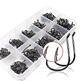 Smartonly 500pcs Fish Hooks 10 Multiple Sizes Different Sizes Fish Hooks Fishhooks Sharpened Sharp Fishing Fish Hook Tackle Lure Bait Set Kit