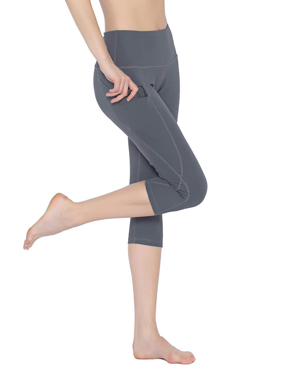 Rocorose Women Yoga Pants Side Pockets Slim Fit Stretchy Capris Workout Leggings