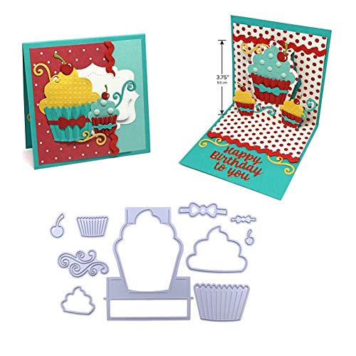 - UanBO9wykh Cutting Die (●_●), Pop Up Cupcake Cutting Die Set Metal Stencil for DIY Scrapbooking Album Decor for Card Aking Paper Crafts Themed Invitations Album Decoration Photo Frame Silver