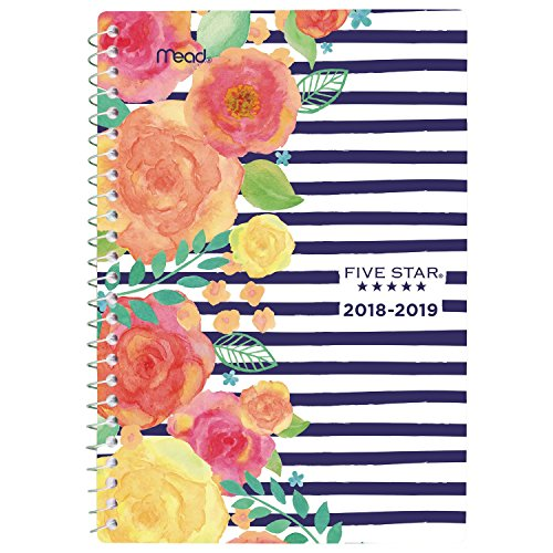 Five Star 2018-2019 Academic Year Weekly & Monthly Planner, Small, 5-1/2 x 8-1/2, In Bloom, Stripe (CAW457D3)