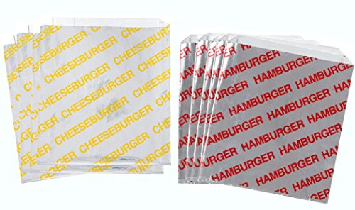 Printed Foil Hamburger and Cheeseburger Bags - 50 Each - Silver Red Yellow