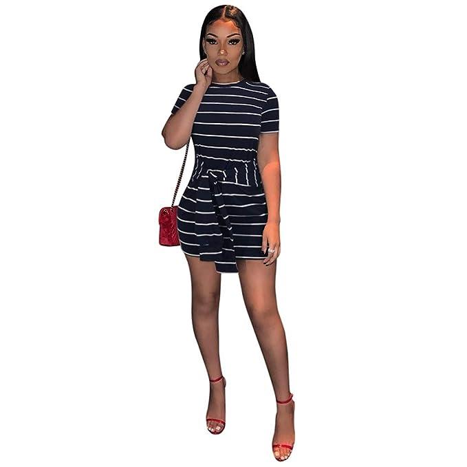 caaca042ba Blustercool Fashion Women Short Sleeve Striped Print Belt Tight Bodycon  O-Neck Dress Black