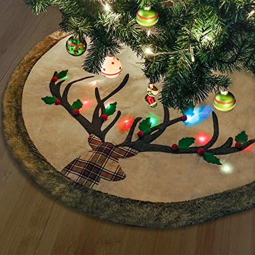 Valery Madelyn 48 inch Pre-lit Woodland Christmas Tree Skirt Decorations with LED Lights, 3D Reindeer and Faux Fur Trim, Themed with Christmas Ornaments (Not Included)
